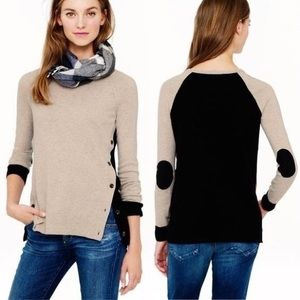 J Crew side button elbow patch colorblock sweater